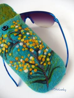 Wet Felted Spring flowers Eyeglasses Case Ready to by MSbluesky