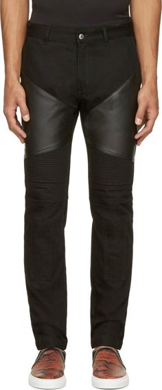 Givenchy Black Leather-Patched Biker Jeans