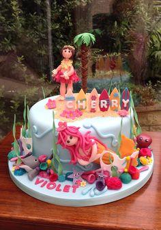 Hula Girl & Mermaid Birthday Cake