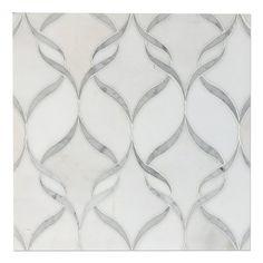 White Thassos - Carrara Bianco Marble Ribbon Designer Waterjet Mosaic - Gorgeous!    TF