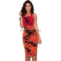Herve Leger Printed Halter Sexy Bandage Dress HL2015052003