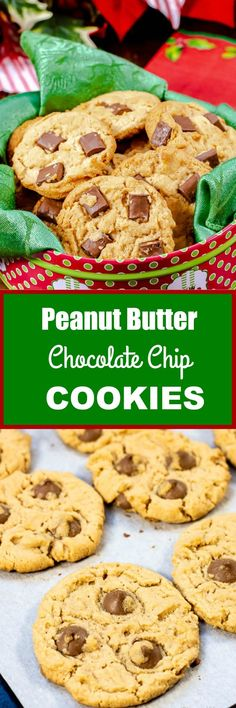 These awesome Peanut Butter Chocolate Chip Cookies are loaded with creamy peanut butter and chocolate chips for an awesome chocolate peanut butter flavor combination. Butter Chocolate Chip Cookies, Peanut Butter Cookies, Yummy Cookies, Chocolate Peanut Butter, Sugar Cookies, Easy Holiday Cookies, Easy Christmas Cookie Recipes, Best Christmas Cookies, Christmas Treats