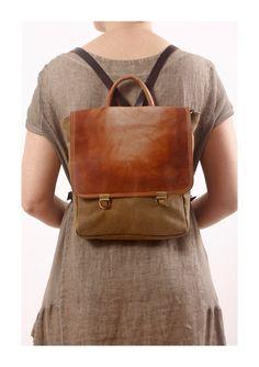 Rucksack, Heavy Cotton und ausgeblichene Leder, Rucksack Day Pack, Kabine-Tasche, Messenger Bag Reisetasche
