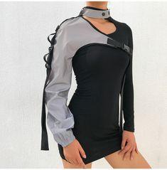 One Shoulder Women's Sweatshirts Moda Cyberpunk, Cyberpunk Clothes, Cyberpunk Fashion, Rave Outfits, Fashion Outfits, Space Fashion, Responsive Layout, Jackets For Women, Clothes For Women