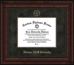 Alabama A&M University Diploma Frame - Embossed Seal - Suede Mat - Mahogany