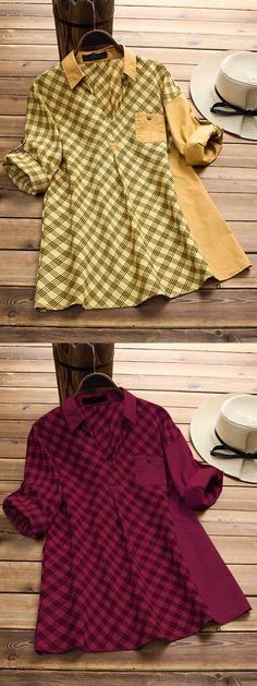 47% OFF! Plaid Print Patchwork Long Sleeve Lapel Casual Shirts. Gracila brand from NEWCHIC. US size 8 to 20. #longsleeve #casual #shirts