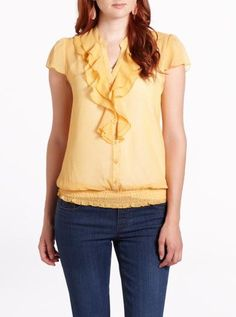 Reitmans Printed Blouse in yellow, for only $15.