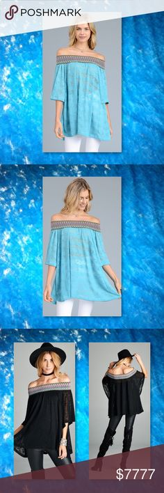JUST IN🆕 Turquoise Off Shoulder Burnout Tunic New 3 Color Choices, Loose fit, loose sleeve, off the shoulder top with multi colored stretch trim detail. This top is made with a sheer , burn out, knit fabric, has good stretch and drapes nicely. Color: Burgundy, navy and turquoise Material: 96% Polyester, 4% Spandex Made in USA  Sizes Avail: Small, Medium, Large   ⭐️⭐️SORRY NO TRADES AND LOWBALL OFFERS WILL BE IGNORED ⭐️⭐️  ✂️LOWBALL OFFERS WILL BE IGNORED✂️ Glam Squad 2 You Tops