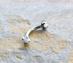 Rook Earring,White Opal 16G Curved Barbell,Daith Ring,Cartilage Barbell,Snug Piercing,Eyebrow Ring,Vertical Labret,Tragus Bar,Surgical Steel