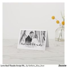 Love And Thanks Script Photo Wedding Thank You Note Card by fatfatin Thank You Note Cards, Wedding Thank You, Photo Cards, Script, Stationery, Thankful, Place Card Holders, Ink, Script Typeface