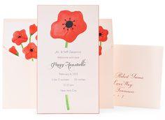Red Poppy Birth Announcement