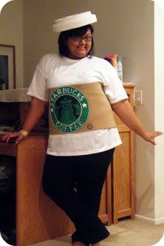 Starbucks costume-cute!  OMG...I love this for my next Halloween Costume....I am a Starbucks Gal all the way!