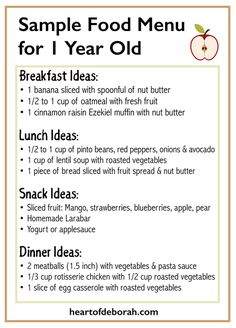Sample Menu for One Year Old: What Your Child Should Eat at Each Meal Not sure what to feed your one year old toddler? Here is a sample menu for breakfast, lunch and dinner ideas! Toddler Menu, Healthy Toddler Meals, Toddler Lunches, Kids Meals, Toddler Food, Healthy Lunches, One Year Old Foods, 1 Year Old Meals, Meals For One