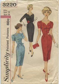 Vintage Simplicity Sexy Bombshell Wiggle Dress Pattern #3220 ~ 1960's ~ sz16 B36 | eBay