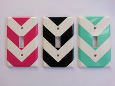 Classy Chevron vinyl light switch cover decal by BugzyBoutique, $2.25