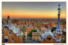 A view of #Barcelona from the terrace of the Park Güell, by the architect Antoni Gaudí, as well as the buildings of the foreground, taken at dusk. (via http://flic.kr/p/HnzEv)  #goldenhour #photography