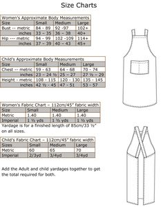 Crossback Apron Size Charts
