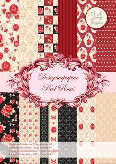 Scrapbooking - Reddy Designerpapierset - Red Roses - ein Designerstück von ZeitfuerKreatives bei DaWanda