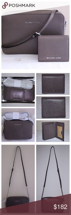 "Jet Set Crossbody and Card Holder Set Cinder Set style - 34H6SGFC7A Set UPC - 190049950982  Card Holder * 100% patent Saffiano leather * silver-toned hardware * 100% polyester lining * interior festures an ID window, 3 credit card slots, 2 business card slots & an open coin pocket  Crossbody * same material as card holder * East/West design * adjustable strap w/ 22.5""-24.5"" length * 9.5""L x 2.5""W x 6.5""H * interior has 1 slip pocket & 2 cellphone pockets * slip pocket especially designed w…"