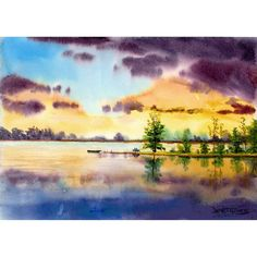 Watercolor Landscape Painting  Print Lake LOVERS at sunset  Boat Reflections Giclee Reproduction  7x10