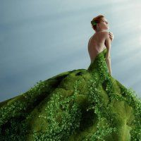 beautiful and young women in moss dress with ivy at sky background. Surreal Photos, Photo Retouching, Mode Inspiration, Photo Manipulation, Shades Of Green, Green Dress, Fashion Art, Green Fashion, Fashion Clothes