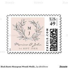 Blush Rustic Monogram Wreath Wedding Postage Stamp