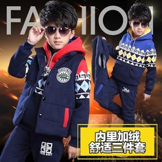 (31.91$)  Buy here - http://aisk2.worlditems.win/all/product.php?id=32767688313 - 9 male child winter piece set 2016 12 boy casual sports vest child 8 plus velvet thickening set