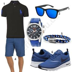 Blau-Schwarzer Look mit Poloshirt und Boss Uhr Blue-Black Look with Polo Shirt and Boss Watch Teen Boy Fashion, Tomboy Fashion, Sport Fashion, Mens Fashion, Sporty Style, Sport Casual, Men Casual, Outfits Hombre, Sport Outfits