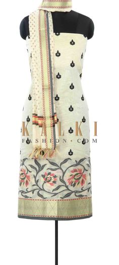 Buy Online from the link below. We ship worldwide (Free Shipping over US$100) Price- $39 Click Anywhere to Tag http://www.kalkifashion.com/cream-unstitched-suit-enhanced-in-resham-and-weave-only-on-kalki.html