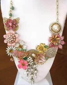Broken vintage jewelry used to create this necklace