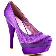 Create a look with substance and desire in the Melaina. A purple shade enveloped the silhouette and completes a sophisticated experience. This closed toe style will be a head turner with its 5 inch heel and 1 inch platform. Cinderella Heels, Purple Wedding Shoes, Purple Heels, Cheap Designer Shoes, Stiletto Heels, High Heels, Tennis, Wholesale Shoes, Cheap Wholesale