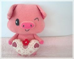 Pig with heart, amigurumi toy, ready to ship.