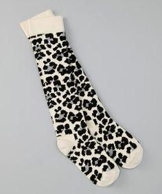 Black & Ivory Leopard Knee-High Socks | kids