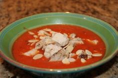 Creamy Tomato Basil soup: So easy and tasty! I used the Blendtec to smooth out everything except one can of diced tomatoes- I like the texture of something in my soup. I also used 4 cloves of garlic.