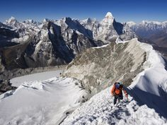 Climber on Summit Ridge of Island Peak, Solu Khumbu Everest Region, Sagarmatha National Park Fotografisk trykk