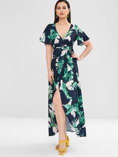 No Summer Plant Short V-Collar Ankle-Length Wrap A-Line Day and Vacation Fashion Palm Leaves Wrap Maxi Dress Cheap Maxi Dresses, Plus Size Maxi Dresses, Types Of Dresses, Short Sleeve Dresses, Dresses With Sleeves, Maxi Wrap Dress, Wrap Dresses, Dresses Dresses, Fashion Outfits