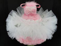 Baby Shower Tutu Diaper Cake - Pink & White Ballerina Tutu Baby Girl Diaper Cake Centerpiece- 3 Tier. $120.00, via Etsy.