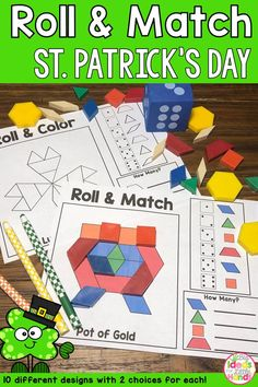 This is a fun, hands on activity that is perfect for math small groups or math centers! This has a St. Patrick's Day theme filled with Shamrocks and pots of gold. Students will roll the die and match the pattern block to the correct shape on the worksheet. They will keep rolling to fill the puzzle. Great for early finishers! Great for Pre-K and Kindergarten #patternblocks #mathcenters #kindergarten #tpt