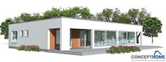 Small house plan in modern  architecture. Three bedrooms, full wall height windows, spacious interior areas.
