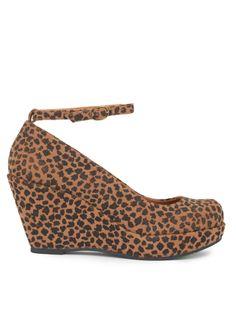 Sure Thing Brown Cheetah Wedge Heels
