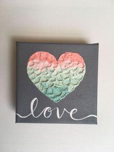 Unique Art Gift Love Painting Mint Pink Coral Peach and Arte Coral, Coral Art, Love Painting, Acrylic Painting Canvas, Canvas Art, Design Shop, Easy Paintings, Original Paintings, Canvas Paintings