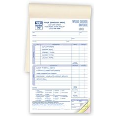 Booked Auto Lockout Locksmith Work Order Forms  Size   X