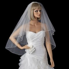 "Jennifer Duggan's - this is the ""blank"" I am starting with  Bridal Wedding Double Layer Fingertip Length Pencil Edge Veil VR F"