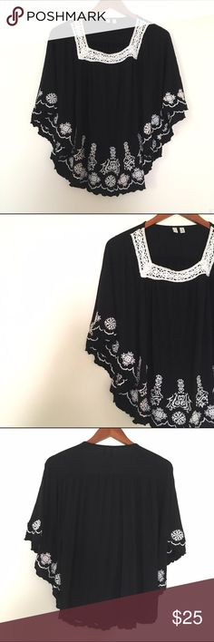 Black & White Embroidered Boho Batwing Top Madison Black & White Embroidered Boho Batwing Top. Size large. Square neckline, flowy rayon, white embroidered flowers.  🎀Search my closet for your size 🎀BUNDLE and SAVE! 🎀REASONABLE offers WELCOME 🎀NO TRADES NO HOLDS 🎀Thank you for stopping by!❤️ madison Tops