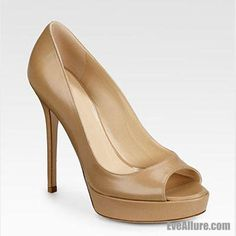 EveAllure 120 mm Peep Toe Sequin Stiletto Heel Platform Patent Leather Crown Pumps Shoes Tan - EveAllure