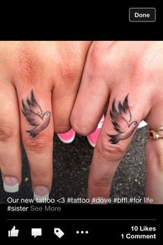 My Dove finger tattoo <3 (with my friend)