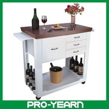 Stylish Modern Wooden Kitchen Serving Trolley with Food Keeping Drawers and Wine Bottle Holders and Casters