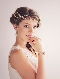 Gatsby Bridal Headpiece Tiara Gold Crystal by gadegaarddesign
