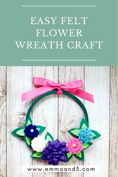 How to make a DIY felt flower wreath for spring and summer. Follow the tutorial for this beautiful front door wreath Felt Flower Wreaths, Felt Flowers, Floral Wreath, Wreath Hanger, Door Wreath, Felt Diy, Handmade Felt, Beautiful Front Doors, Different Shades Of Green
