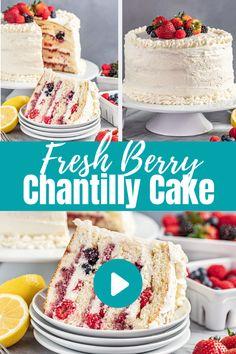 Delicious Cake Recipes, Fruit Recipes, Sweet Recipes, Baking Recipes, Dessert Recipes, Summer Cakes, Summer Cake Recipes, Cake Recipes For Kids, Layer Cake Recipes